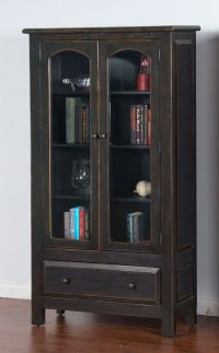 Distressed Black 2 Door Display Cabinet Sunny Designs ...