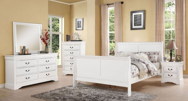 Louis Philippe Iii Sleigh Bedroom Set White Acme Furniture Cart