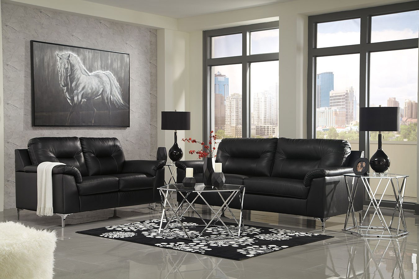 The possibilities are endless when you use white as the base of your color palette for your living room furniture. Tensas Black Living Room Set Signature Design   Furniture Cart
