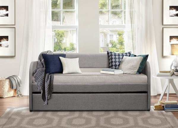 Roland Grey Daybed With Trundle Homelegance 1 Furniture Cart