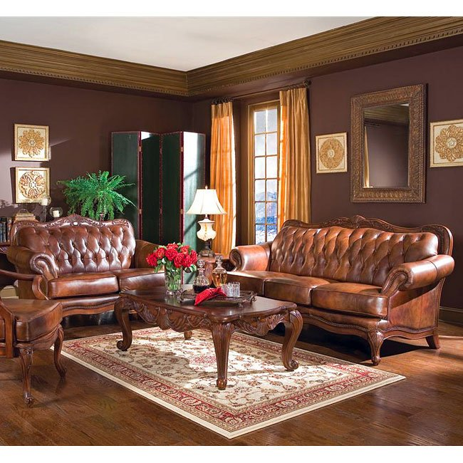 Victoria Leather Living Room Set Coaster Furniture 5