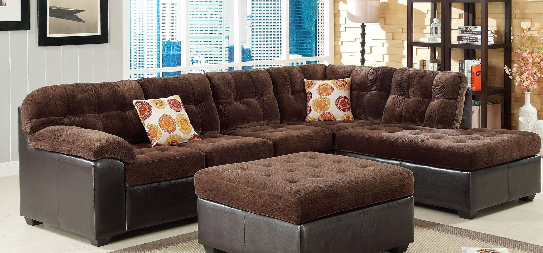 acme sectional sofa chocolate free table plans layce left facing furniture cart