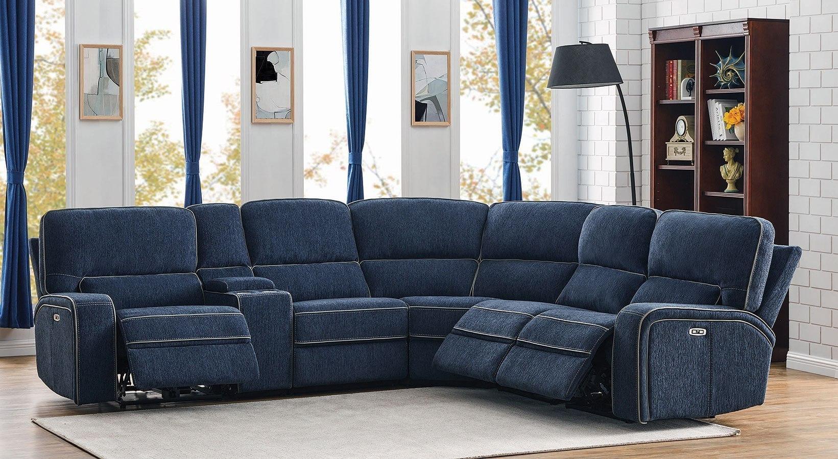 dundee modular power reclining sectional w power headrests navy blue