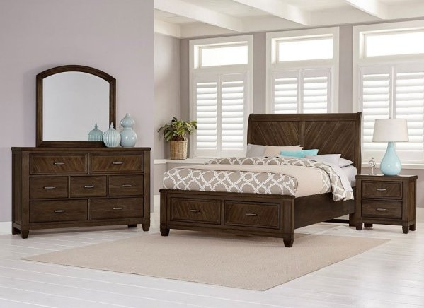 oak sleigh bedroom sets Rustic Cottage Sleigh Storage Bedroom Set (Oak) Vaughan Bassett | Furniture Cart