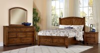 Rustic Cottage Platform Storage Bedroom Set (Cherry ...