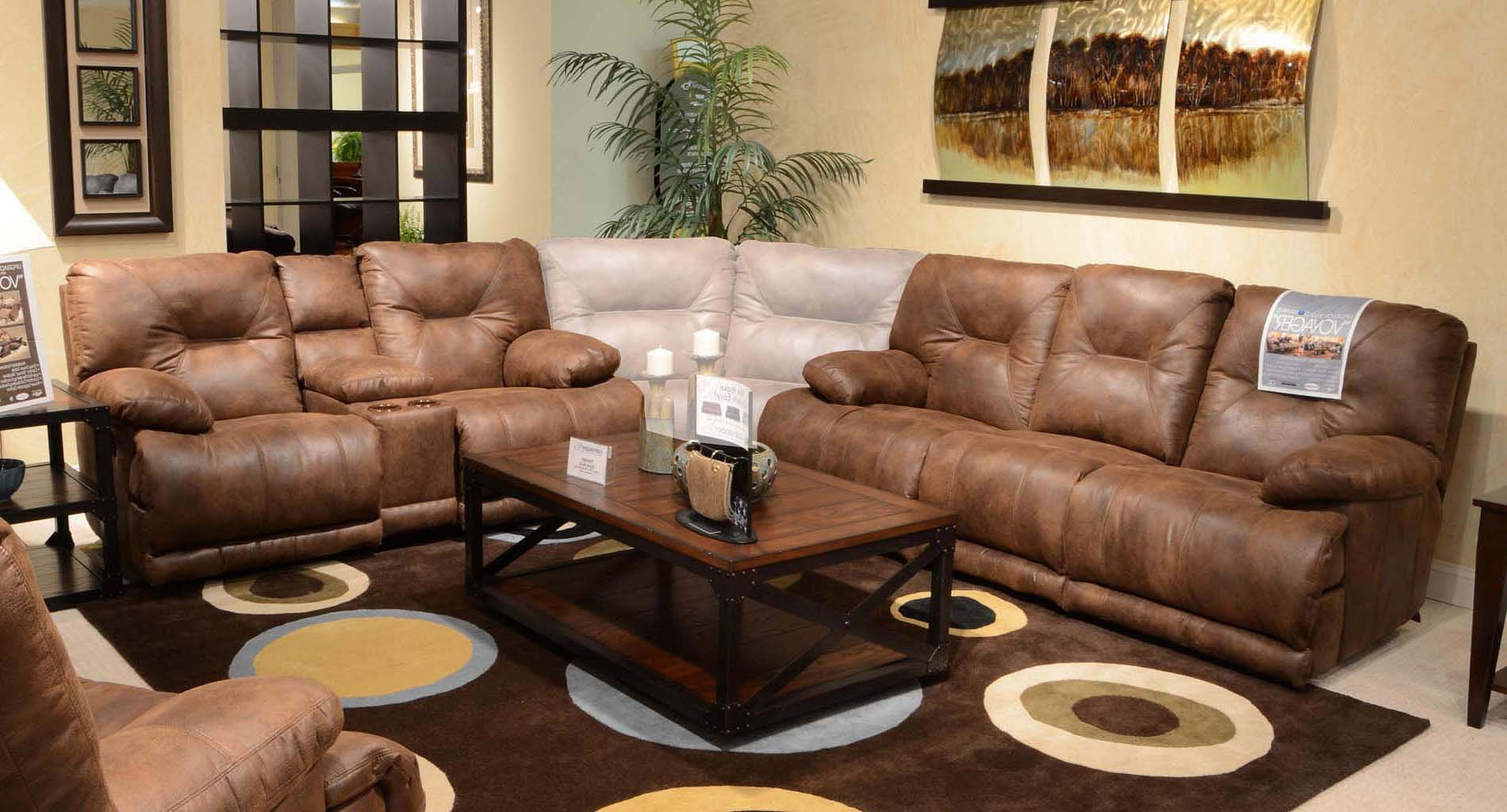 voyager lay flat triple reclining sofa contemporary sofas new york power living room set elk catnapper