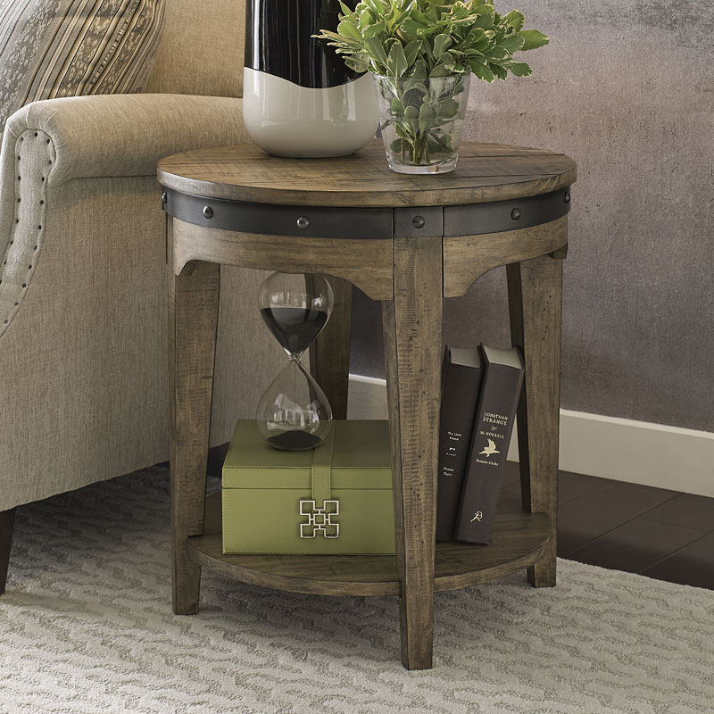 plank road artisans round end table stone