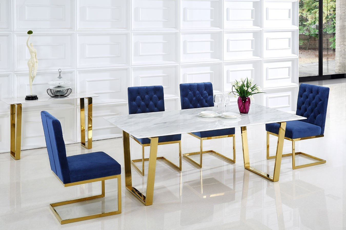 hight resolution of cameron dining room set w navy chairs meridian furniture furniture cart