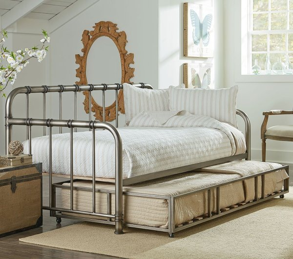 Tristen Metal Daybed With Trundle Aged Pewter Standard