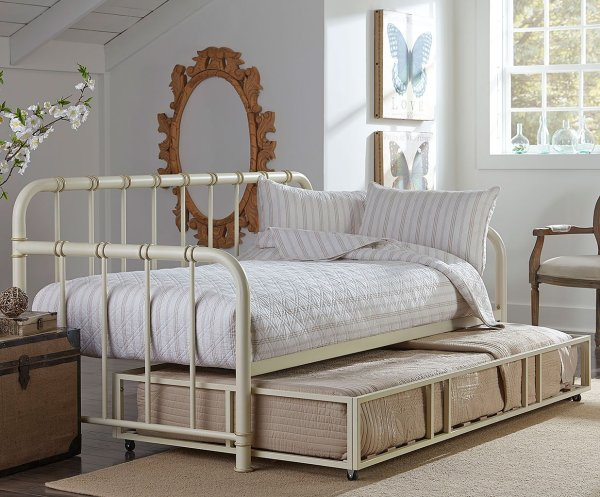 Tristen Metal Daybed With Trundle White Standard Furniture