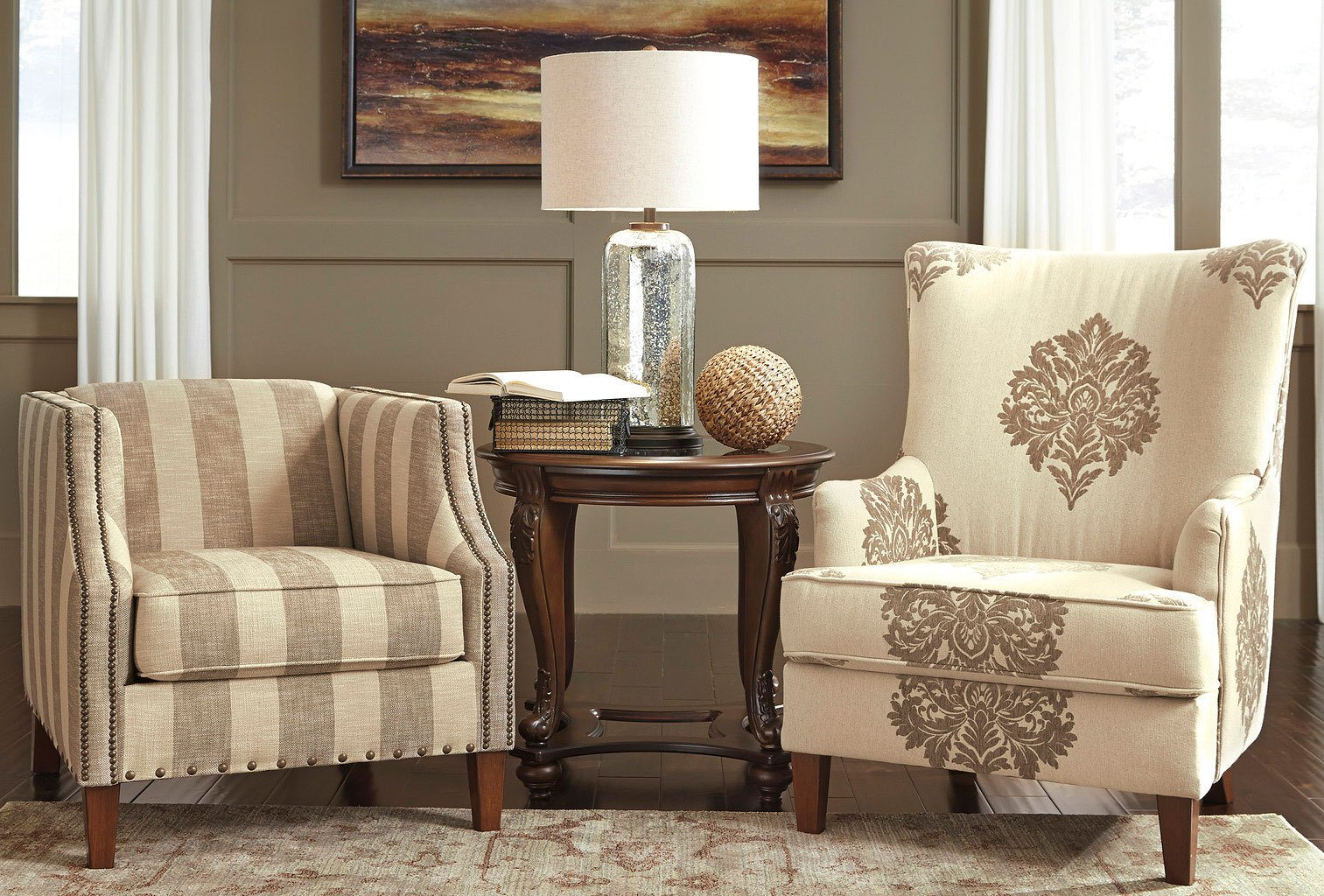 Accent Chairs Ashley Furniture Berwyn View Quartz Striped Accent Chair
