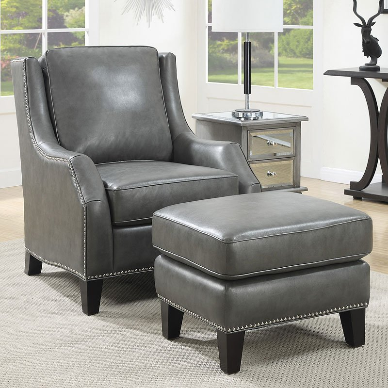 gray accent chair with ottoman dining leg caps grey w coaster furniture cart