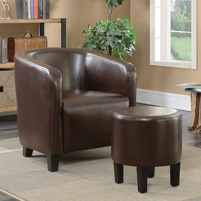 brown accent chair with ottoman mexican hammock w coaster furniture cart