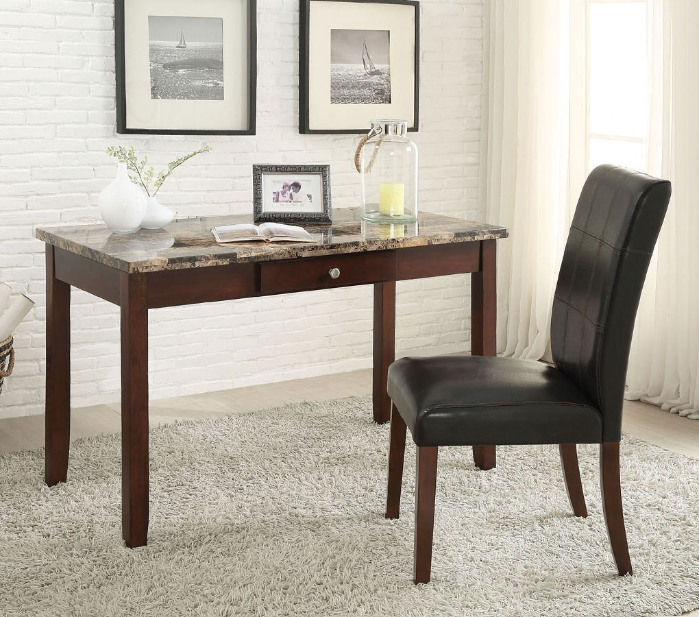 Sydney Writing Desk W Chair Brown Faux Marble Acme