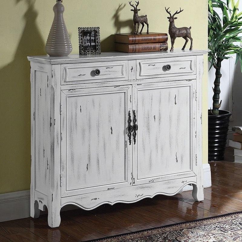 Distressed White Accent Cabinet Coaster Furniture