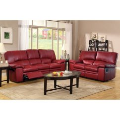 Red Living Room Set With Black Leather Furniture Kendrick Reclining Homelegance Cart