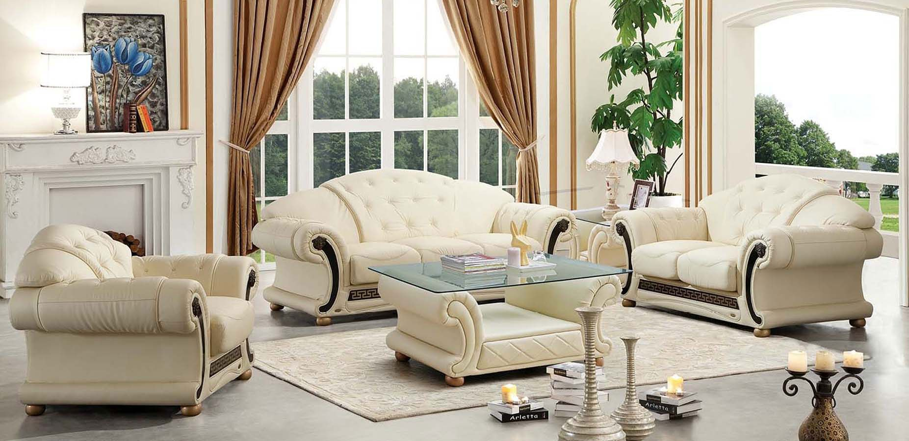 Apolo Living Room Set (Ivory) ESF Furniture