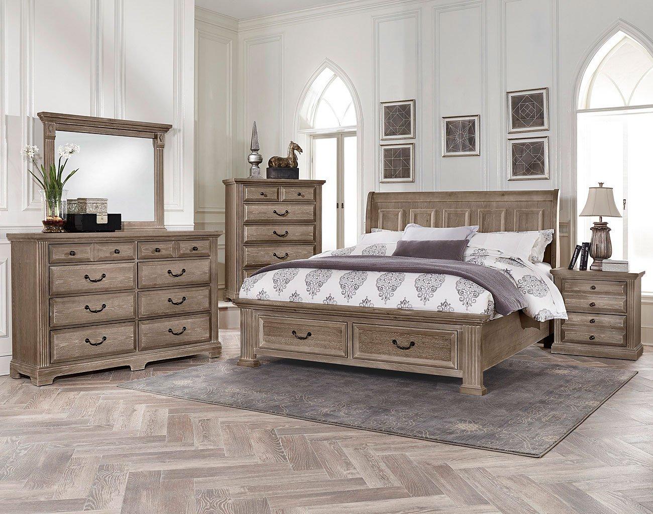 Woodlands Sleigh Storage Bedroom Set Driftwood Vaughan