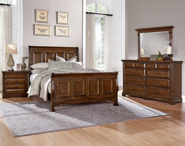 oak sleigh bedroom sets Woodlands Sleigh Bedroom Set (Oak) Vaughan Bassett | Furniture Cart