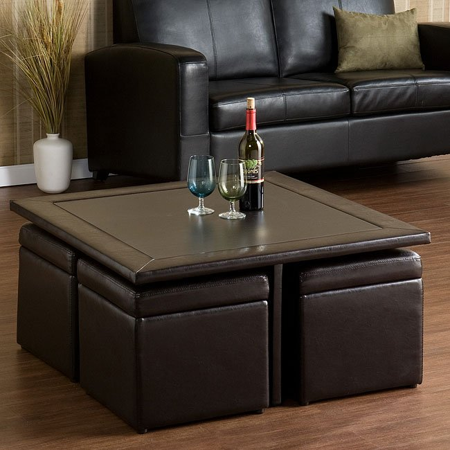 nylo storage cocktail table and 4 ottomans