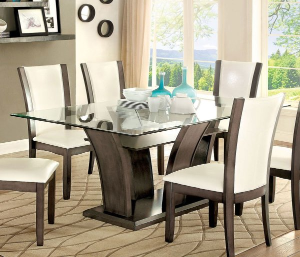 Manhattan Dining Table Gray Furniture Of America