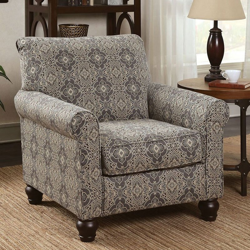 damask accent chair adirondack wood chairs clea furniture of america cart