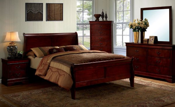 Louis Philippe Iii Sleigh Bedroom Set Cherry Furniture Of America Cart