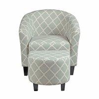 Grey Upholstered Barrel Accent Chair W/ Ottoman Pulaski ...