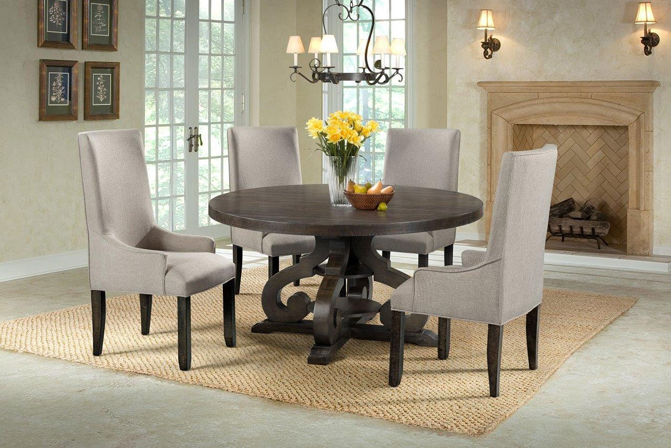 Dining Room Upholstered Chairs Stone Round Dining Room Set W Upholstered Chairs