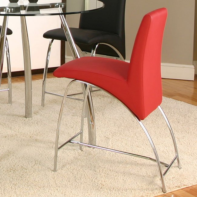 red counter height dining chairs rocking for nursery under 100 mensa chair set of 4 cramco furniture cart