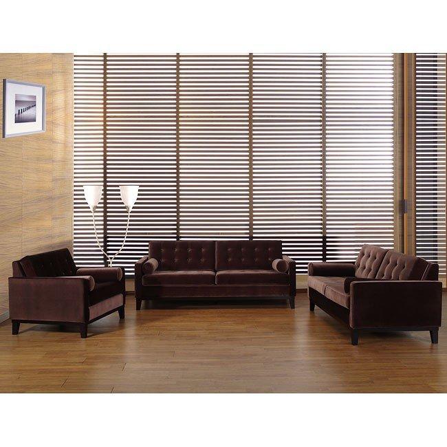 Centennial Living Room Set Brown Velvet Armen Living