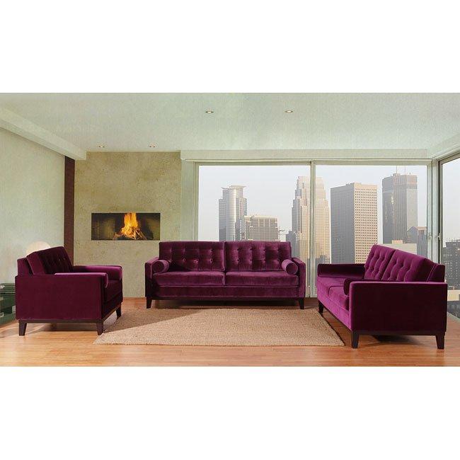 Centennial Living Room Set (Purple Velvet) Armen Living