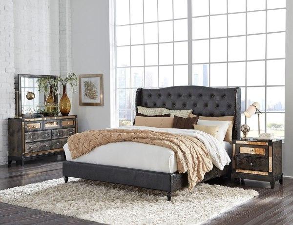 Mirror Upholstered Bedroom Set Chocolate Global