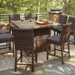 Paradise Trail Outdoor Fire Pit Bar Table Set Signature Design Furniture Cart