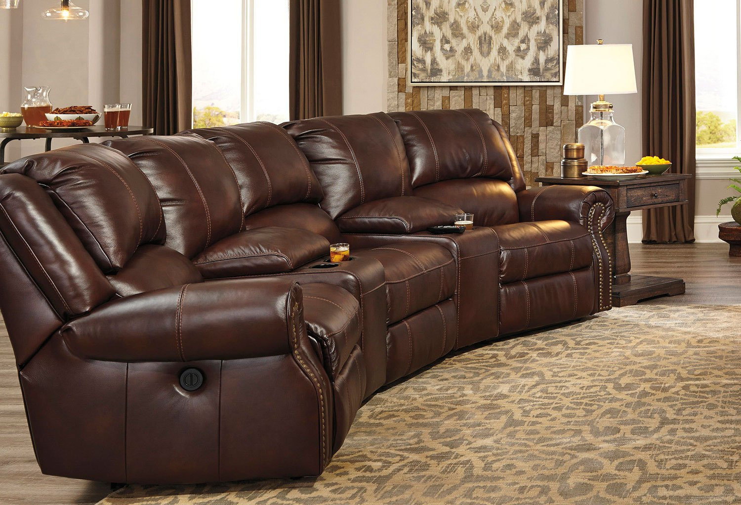 home theatre sectional sofas grey tufted sofa collinsville chestnut reclining theater