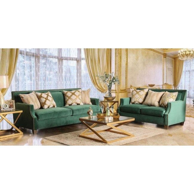 Verdante Living Room Set Emerald Green Furniture Of America Furniture Cart
