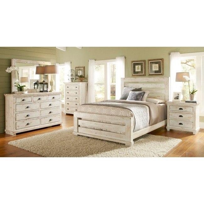 willow slat bedroom set distressed white