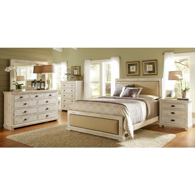 willow upholstered bedroom set distressed white