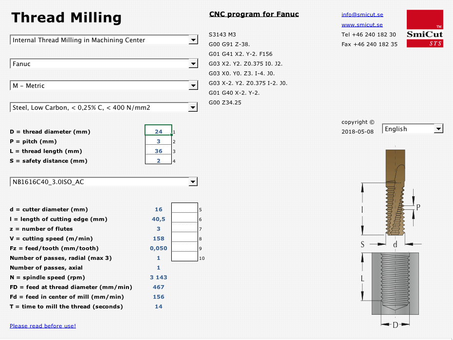 Free Thread Milling Software - SmiProg | SmiCut from Sweden