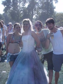 This lady married today and afterwards went to the festival with her husband - would you do it?