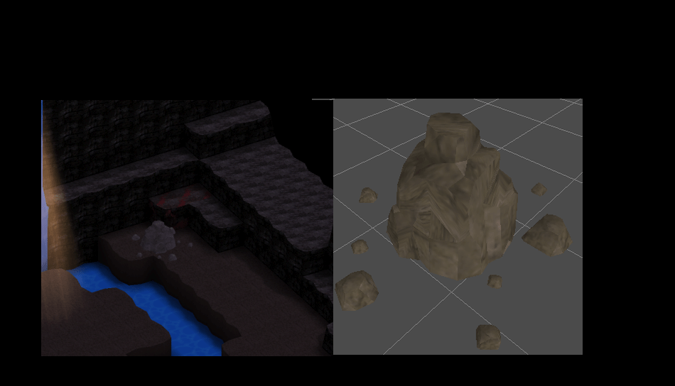 """Old Ruin"" High Quality Assets: Stone Wall Terrain and Rock Object"