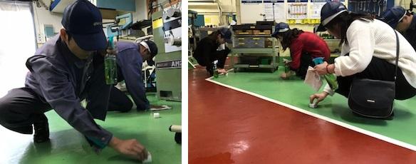枚岡合金3S活動工場見学の清掃体験