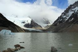 Laguna Torre and Cerro Torre in background- covered in clouds