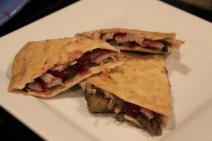 turkey quesadilla with stuffing and cranberry sauce