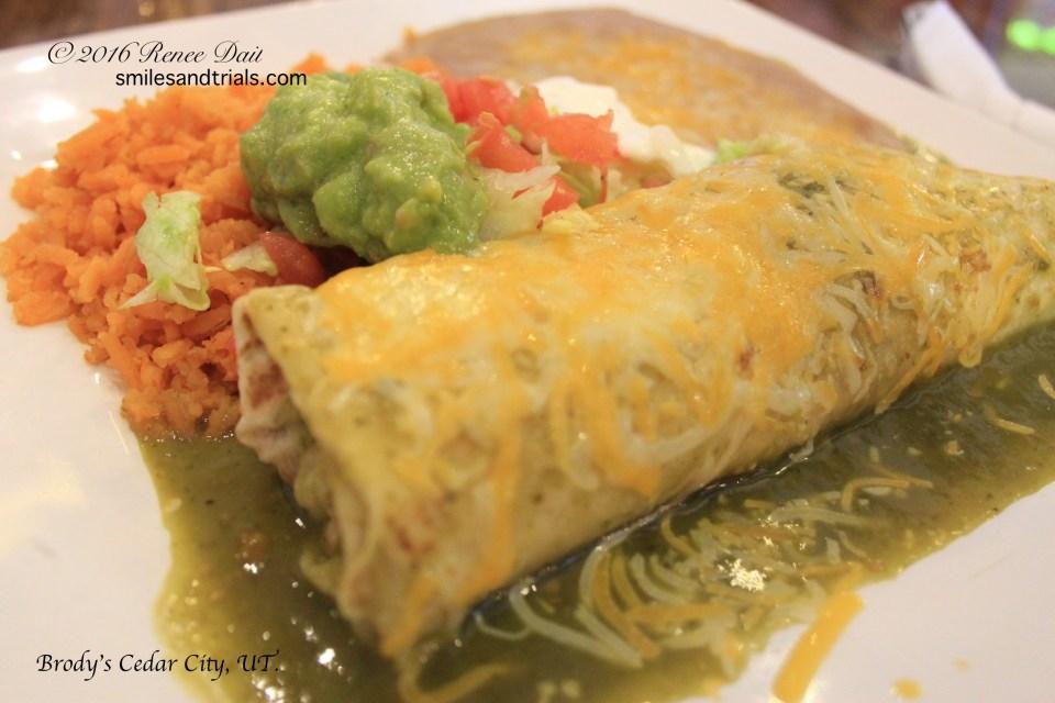 2093 chicken burrito with green sauce