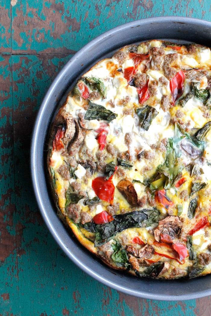 Garden Vegetable, Sausage & Feta Crustless Quiche