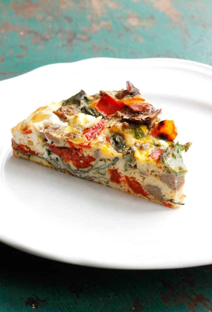Garden Vegetable, Sausage & Feta Crustless Quiche