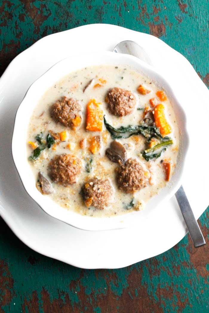 Slow Cooker Meatball, Sweet Potato & Kale Soup
