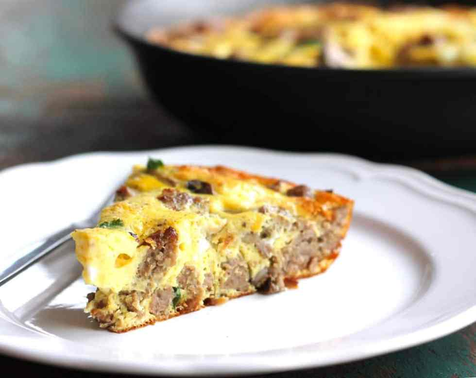 Stupidly Easy Sausage Spinach Crustless Quiche