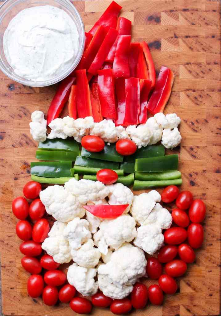 Christmas Veggie Tray with Greek Yogurt Ranch Dip